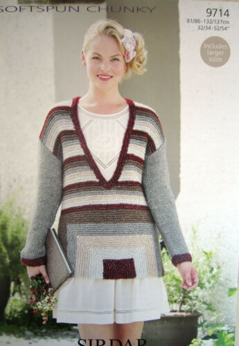 SWEATER ADULT SIZES Sirdar SOFTSPUN CHUNKY KNITTING pattern 9714