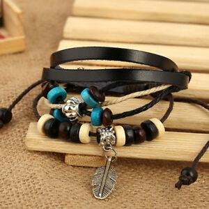Fashion-Women-Multilayer-Handmade-Wristband-Leather-Bracelet-Bangle-New-Style