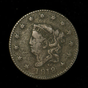 1818-CORONET-HEAD-1C-LARGE-CENT-VF-Dets-EARLY-AMERICAN-COPPER-Lot-X266