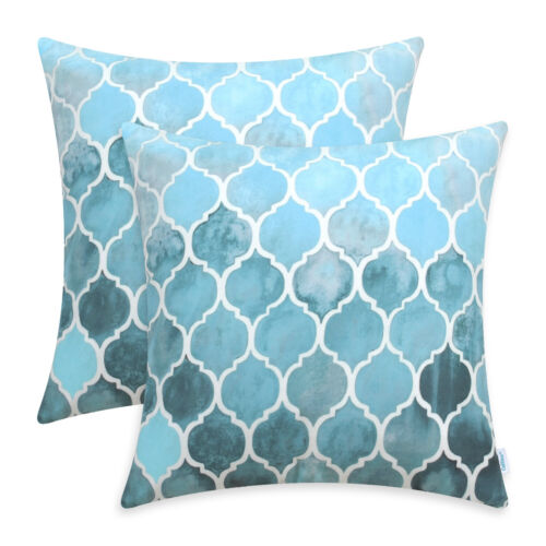 2Pcs Sky Smoke Blue Cushion Cover Pillow Shell Geometric Chain Sofa Home 45x45cm