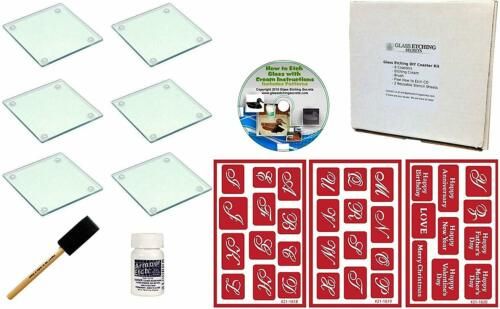 Make Your Own 6 Coasters with Your Monogram Glass Etching Monogram Coaster Kit