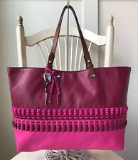 3fcf76be13fa FOSSIL Rachel Two Tone Pink Raspberry Soft Leather Tote Shopper Shoulder Bag  NWT