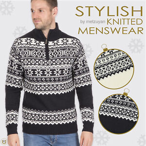 Homme-Tricot-1-4-Zip-Fermeture-Eclair-Col-Pull-Fair-Isle-Pattern-Extra-Chaud-Pull-UK