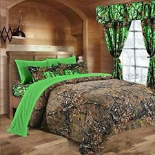 BURGUNDY QUEEN COMFORTER SHEETS CAMOUFLAGE $10 OFF 7 PC CAMO SET!