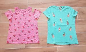 2 x T-Shirt - C&A - türkis + rosa - Glitzer - Pailletten - Gr. 158-164 + Zugabe