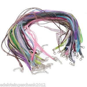GS-22-Mix-Organza-Band-Wachs-Schnur-Halskette-Halsband-43-2cm