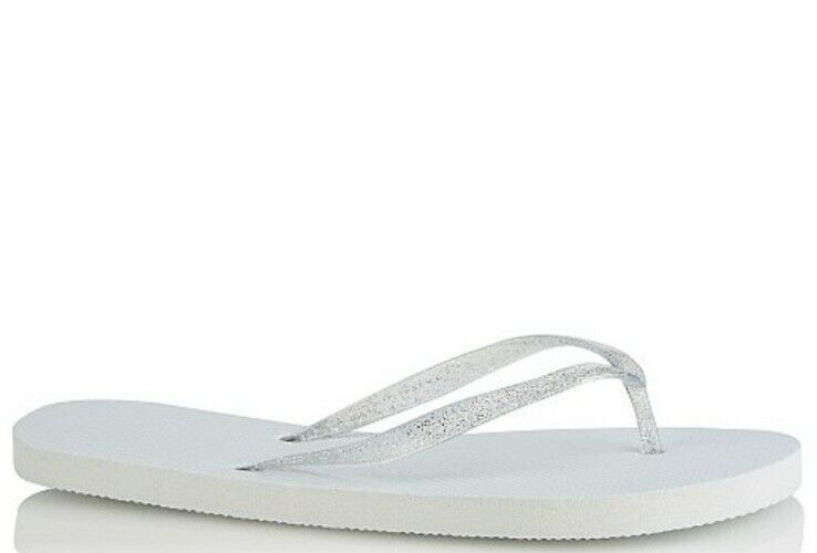 S size White Flip Flop Silver Strap Just Married Base Stamp Women Sleepers UK 😍