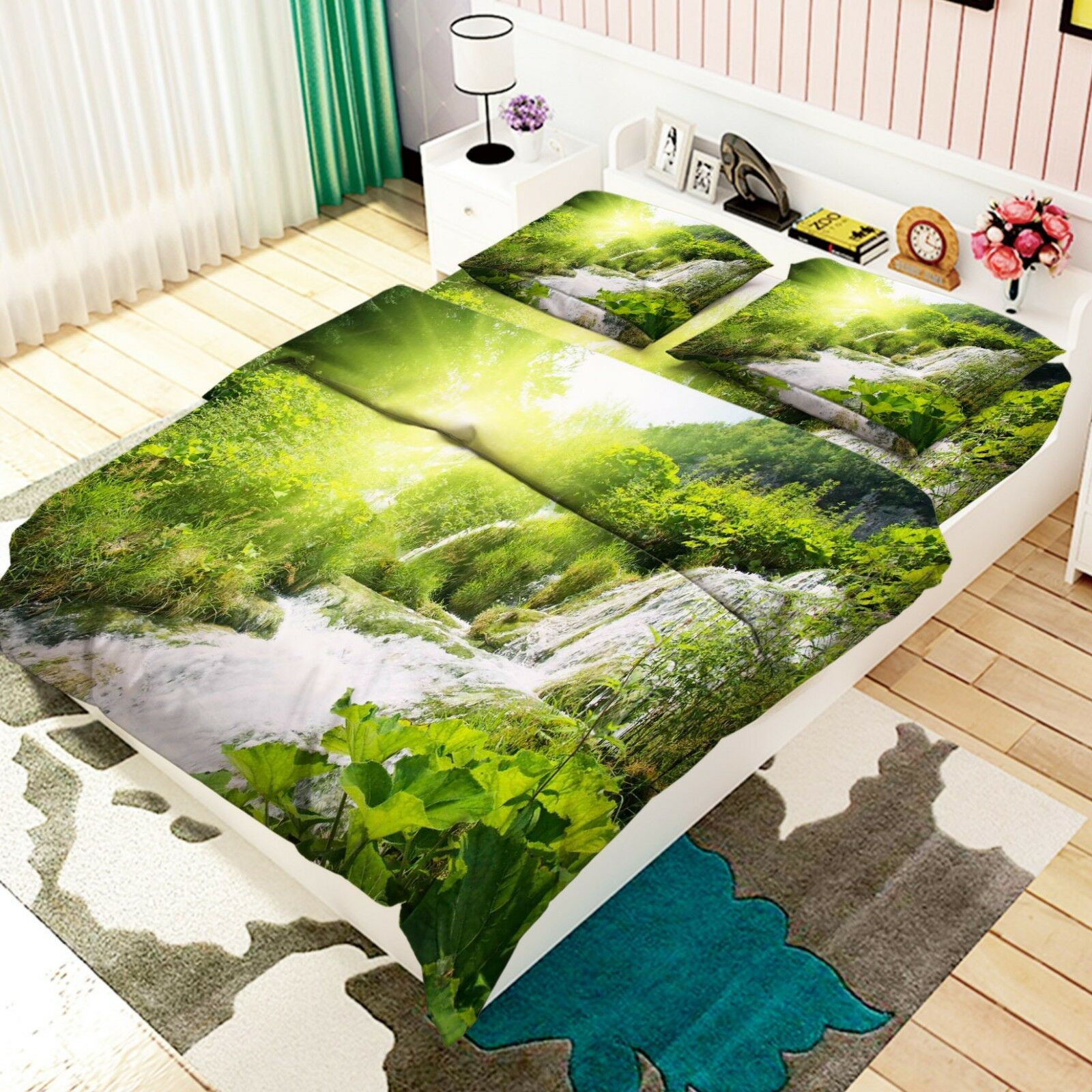 3D Jungle River 7 Bed Pillowcases Quilt Duvet Cover Set Single King UK Lemon