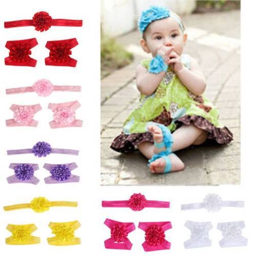3Pcs//set Baby Girls Infant Headband Foot Flower Elastic Hair Band Accessories