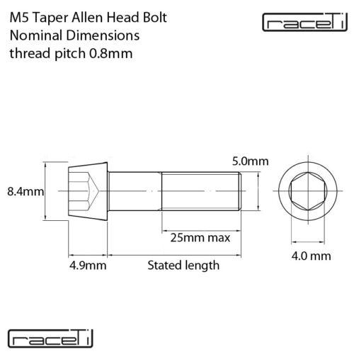 M5 TITANIUM Taper Cone Socket Allen Bolt 10 12 15 16 20 25 30 35 x 0.8mm tp Ti