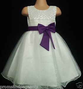 ada718a218d Image is loading Cadbury-Purple-Ivory-Flower-Girl-Bridesmaid-Prom-Sparkly-