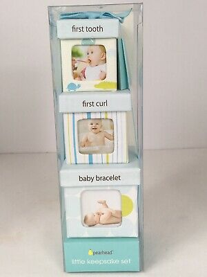 First Curl Bracelet and Tooth Set of 3 Baby Boy Keepsake Boxes