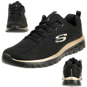Details zu Skechers Sport Womens GRACEFUL GET CONNECTED Sneakers Frauen Schwarz