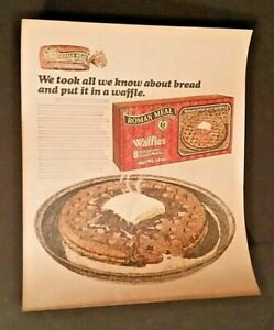 VINTAGE-ADVERTISING-1977-Campaign-Pitch-Poster-ROMAN-MEAL-WAFFLES-5-COLOR