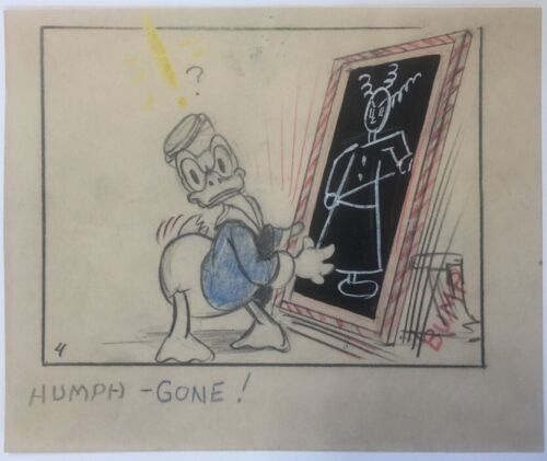 1930's Disney Animation Story Board Drawing Of Donald Duck