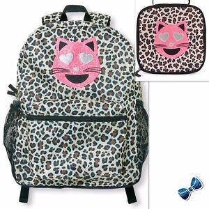 e6a309fa0e The Children s Place Girls Love Cat Leopard Print Backpack + Lunch ...