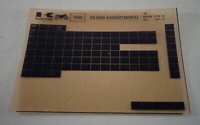 Microfich Ersatzteilkatalog Kawasaki Zx 1000 - A1 - Typ Gpz 1000 Rx Stand 07/85