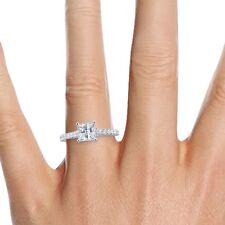 1 Carat Princess Cut Diamond Engagement Ring H/SI 14K White Gold Enhanced