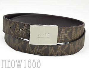 b21aa86ed2af New Michael Kors Men Brown Signature Logo 33mm Width Reversible PVC ...