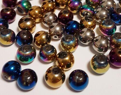 55 galvanizado abalorios cristal esmerilado perlas 6mm colorido Mix perlas aproximadamente r43