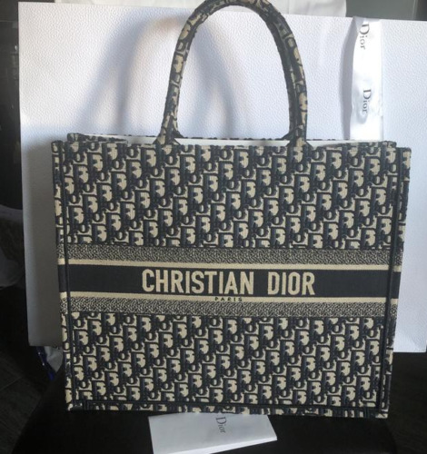 CHRISTIAN DIOR Book Tote Canvas Navy EMBROIDERED T