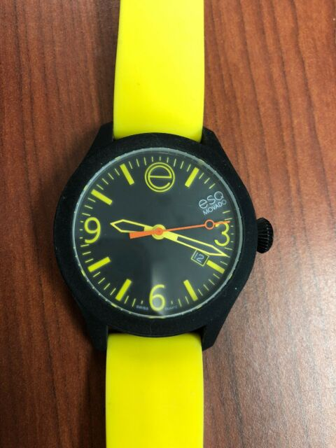 BRAND Esq Movado 7301432 Unisex One Yellow Silicone Black Dial Case Watch