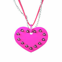 Cupcake Cult Pink Studded Spike Love Heart Gothic Pendant On Chain Necklace