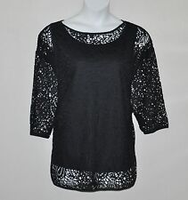 Linea by Louis Dell'Olio  3/4 Sleeve Open Work Top with Tank Size S Black