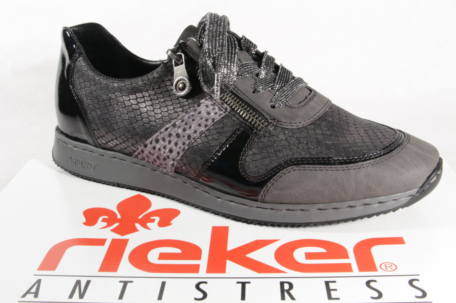 Rieker Scarpe con lacci da donna, Scarpe basse, scarpe da ginnastica, Grigio, 56001 NUOVO