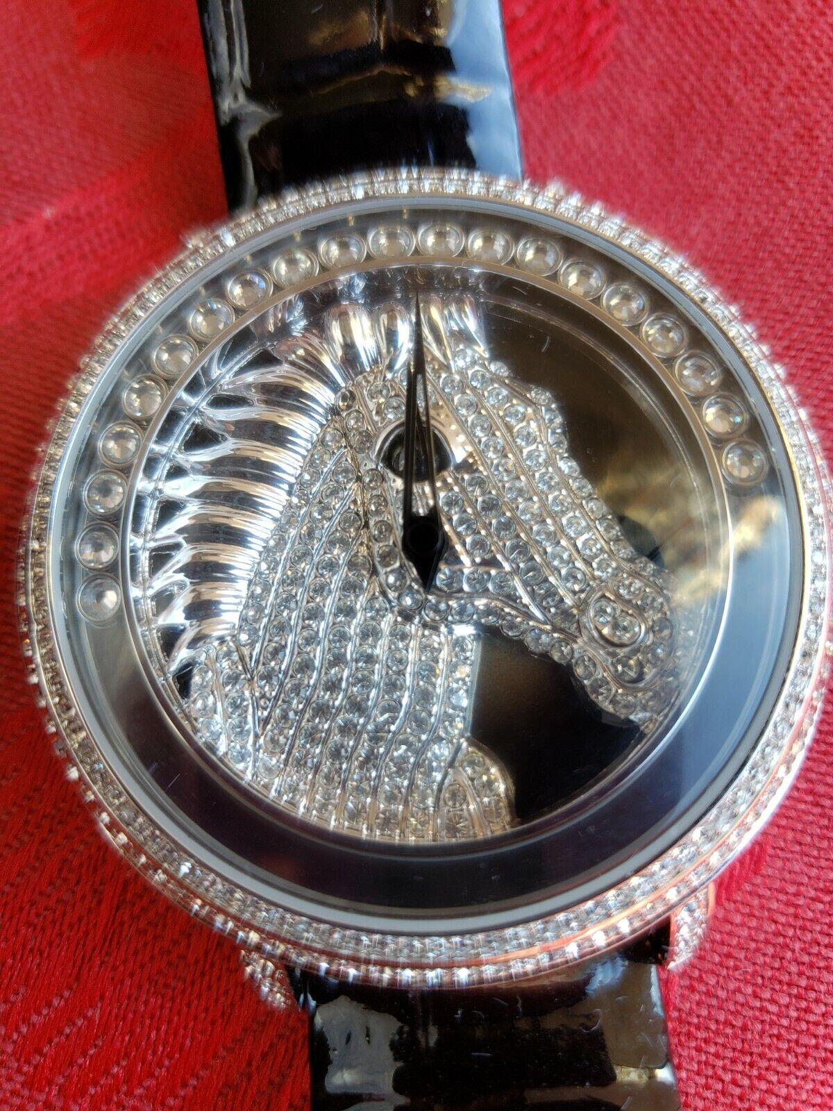 ,B.B Simon Swarovski Cristal Reloj De Cabeza De Caballo, Nuevo En Caja, tamaño 40mm