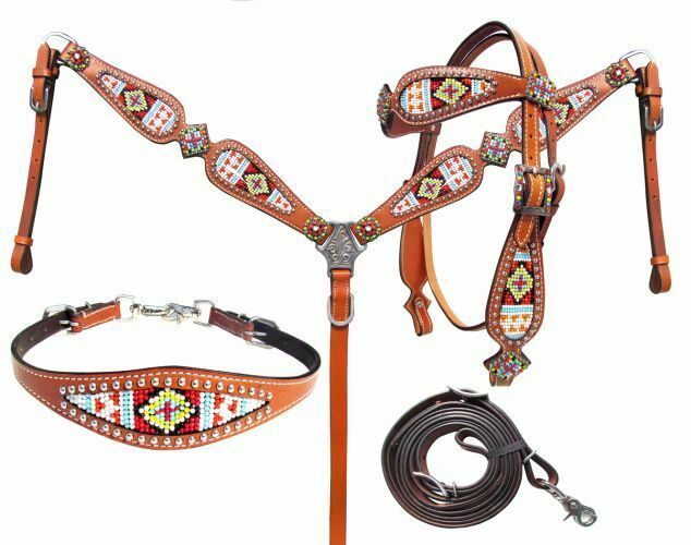 4 Piece Multi colord Beaded Headstall & Breast Collar Set Wither Strap NEW