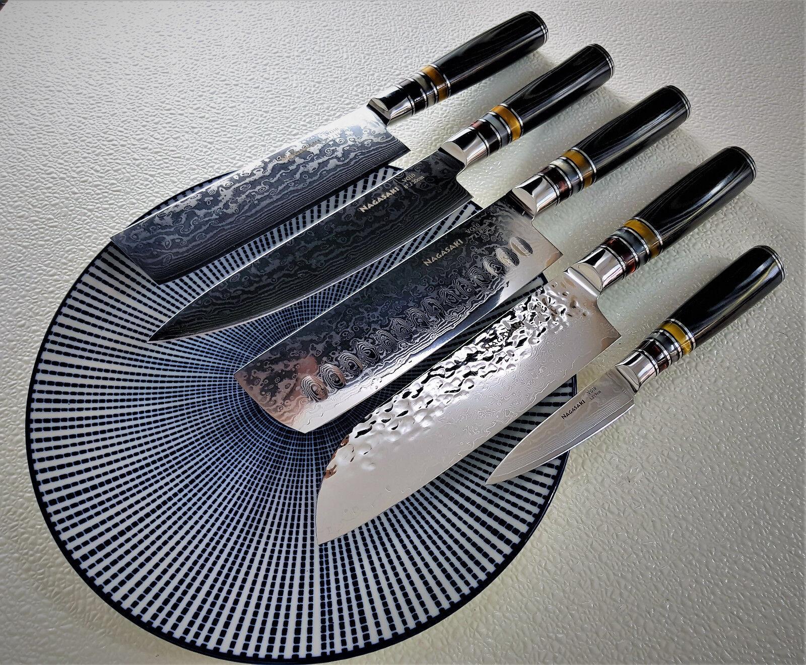 Nagasaki Damascus knife set, VG-10, couteau, cuisine couteau, couteau, cuisine, Damas,