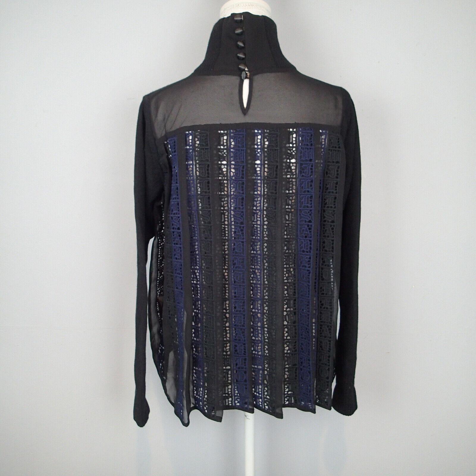 Sacai ikram Knit Tee crochet schwarz navy Sz 2 wool bl spellout sweater blouse r7