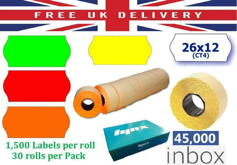 Price Tag Gun Labels CT4 26mm x 12mm Price Labels Permanent Various Colours