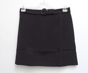 New-Great-Ladies-Stretch-Skirt-in-Black-Decorative-Buckles-Indicated-Belt-Gr-42