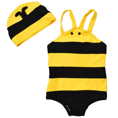 Cuat Bee Swimsuit Baby Kids Style One-Piece Swimwears with Hat Wing Bathing Suit