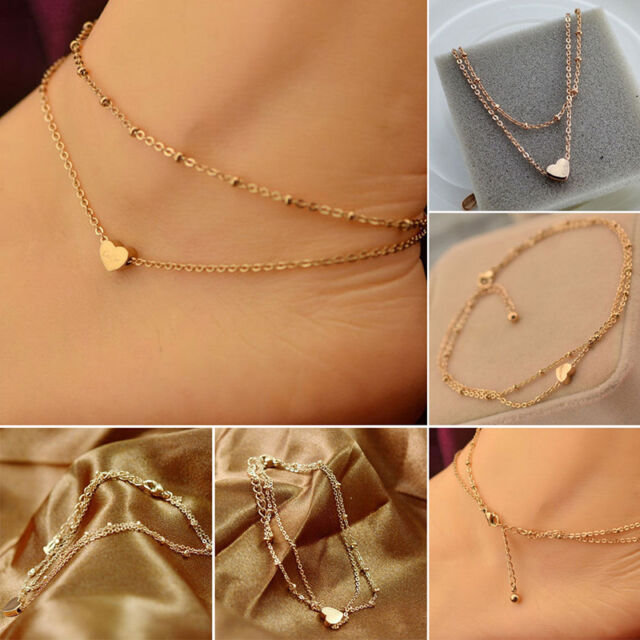 1pc Gold Tone Love Heart Ankle Bracelet Double Layer Chain Sexy Foot Anklet = Eb