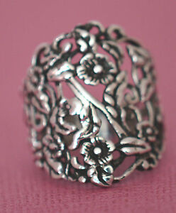 ADJUSTABLE ALL FLOWER RING All Genuine Sterling Silver .925 Stamped Size 8