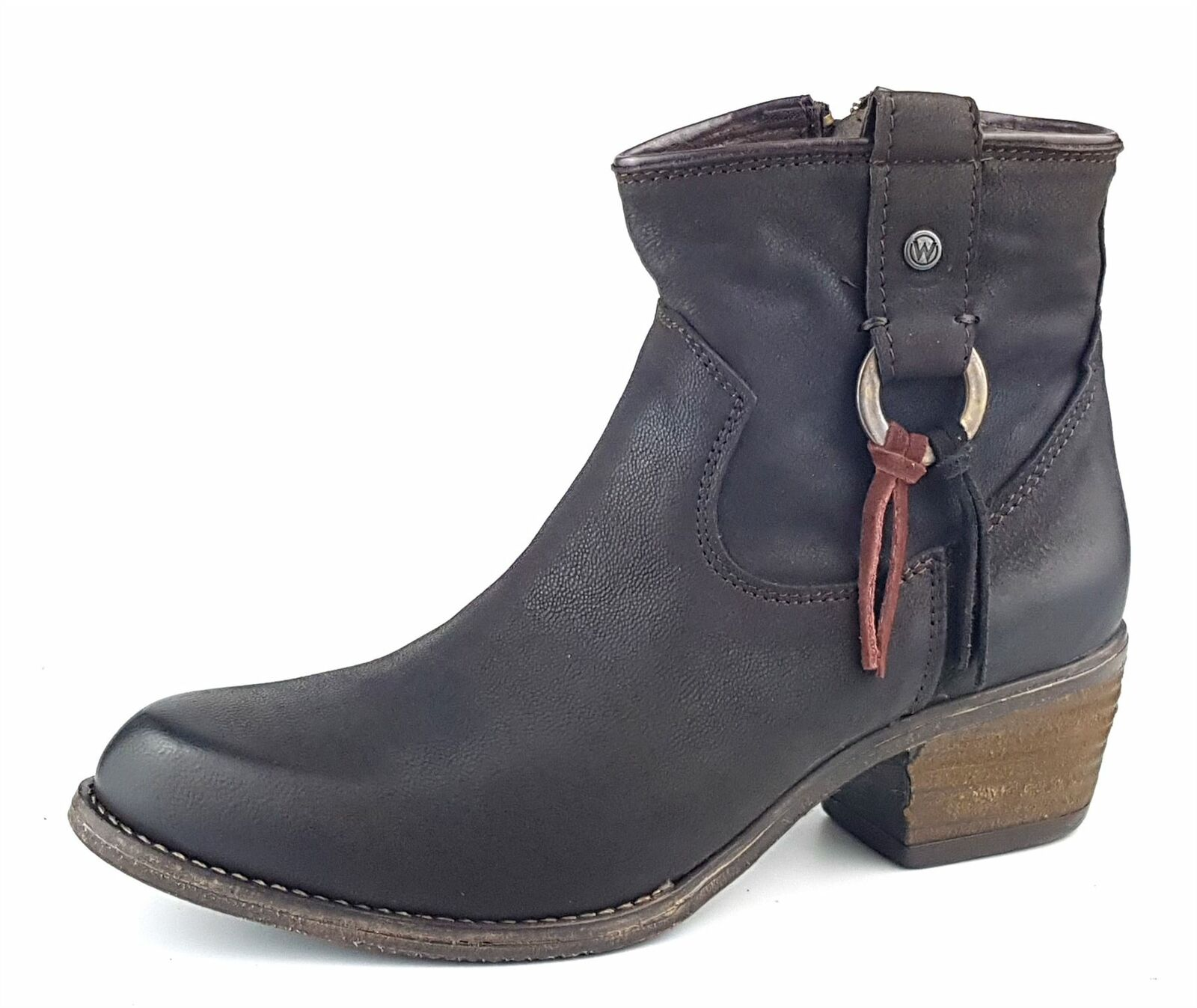Wrangler Carson Ring Ankle Leather Chelsea Heel Stiefel Dark braun