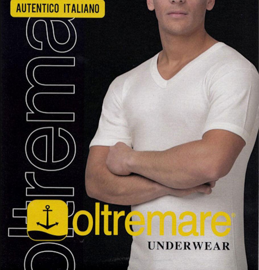 4 Camiseta de hombre Oltremare manga longitud corta cuello de pico de lana