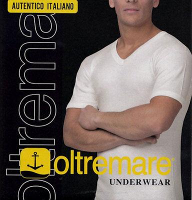 4 T-shirt Uomo Oltremare Manica Corta Con Scollo A V In Lana E Cotone Art 840