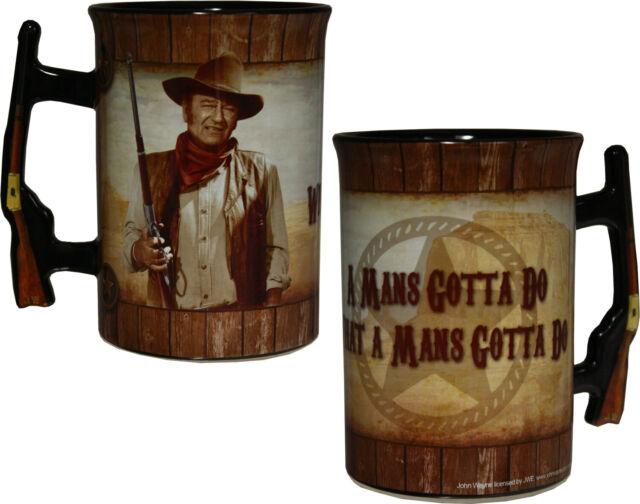 A Mans Gotta Do... John Wayne 16oz Mug with Rifle Handle