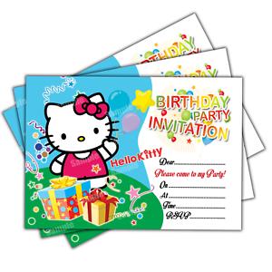 Hello kitty invitations 20 cards birthday party invites girls image is loading hello kitty invitations 20 cards birthday party invites stopboris Choice Image