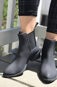 Jeffrey Campbell Havana Last Chelsea Ankle Waterproof Rain Boots Black Size 9 Ebay