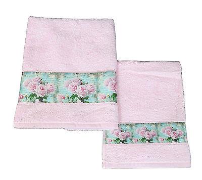 1 Asciugamano Ed 1 Ospite Bagno Spugna Di Cotone Vingi Lavinia Rose Rosa Valore Eccezionale