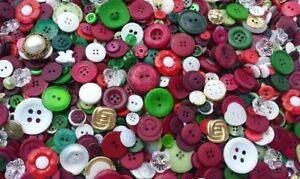 image is loading 100 classic christmas buttons assorted styles red green - Christmas Buttons