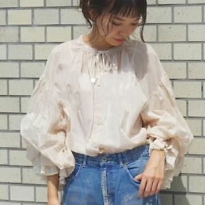 Women Girl Chiffon Lolita Off Shoulder Bubble Long Puff Sleeve Blouse Shirt Tops