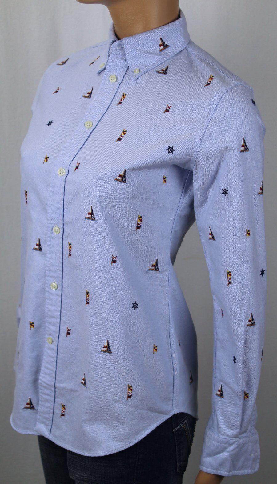 Ralph Lauren Langärmlig Blau Oxford Seemanns SegelStiefel Enge Passform Blause Hemd