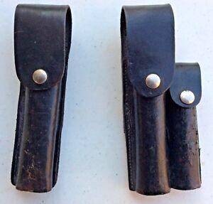 Lot-of-2-Auto-Mag-Holster-Magazine-Black-Leather-Used-Belt