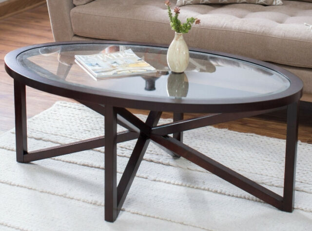 Oval Coffee Table Glass Top Cocktail Modern Dark Brown Wood Accent Living Room